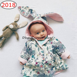 Wholesale Baby Coats Ears - INS Easter Day Girls Bunny Coats Big Ears Floral Printed Rabbit Coat For Princess Baby Girl Clothing Coats Outwear Tops Cardigan Cotton Coat