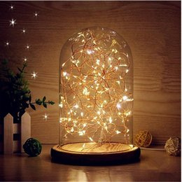 Wholesale Wooden Base Lamp - Glass Dome Night Light Bell Jar Display Wooden Base LED Warm White Light Bedside Table Lamp with Warm Fairy Starry String Lights