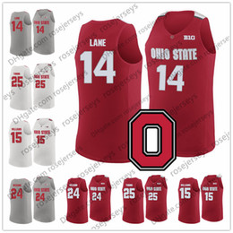 Wholesale young 14 - NCAA Ohio State Buckeyes #24 Andre Wesson 14 Joey Lane 15 Kam Williams 25 Kyle Young College Basketball Red White Gray Jerseys S-3XL