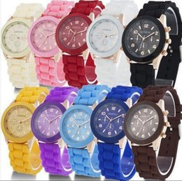 Wholesale Women Silicone Geneva Wrist Watch - Geneva Silicone Watch Rubber Quartz Analog Wrist Watch Women Colorful Candy Color Watches 14 Colors OOA4300