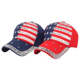 dnine reserve männer hüte Rabatt 200 TEILE / LOS Frauen Sommer Neue Mode Amerika Flagge Baseballmütze Hip Hop Dad Hut Strass Dekoration Casual Hut Unisex