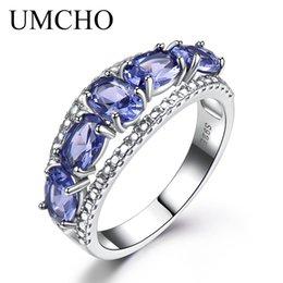 2019 anel de casal de ouro branco de 14k UMCHO 3.0ct Azul Sapphire Tanzanite Anéis Para As Mulheres Noivado Jóias Finas Genuine Sólido 925 Anel de Prata Esterlina Jóias Finas