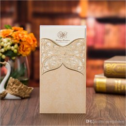 Wholesale invitation card pocket - Lace Wedding Invitations 2018 Gold Personalized Printing Pocket Party Invitations Evening Dinner Invitation Card Wedding Supplies