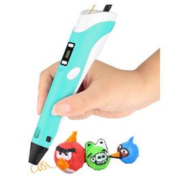 Giocattoli abs online-Disegno LED Display DIY 3D Printer Printing Pen ABS PLA Filamenti Arte Disegno Pittura 3D Penne per bambini Strumenti educativi per bambini Hobby Giocattoli