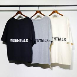 Maglietta di strada online-Fear of god 2018 t-shirt da uomo kanye west fog loose ovesized high street essentials cotone hip hop mezza maglietta top tee maglietta