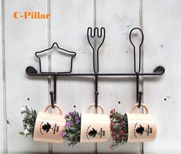 Wholesale Iron Stocking Holders - In Stocked Metal Wall Decor Knife & Fork Hook for Cup & Tableware Iron Storage Holder Rack Rails for Kitchen Free Shipping
