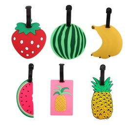 Wholesale Gel Labels - Tavel Accessories Creative Luggage Tag Fruits Cartoon Silica Gel Suitcase ID Addres Holder Baggage Boarding Tags Portable Label