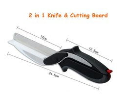Wholesale Smart Knife - Kitchen Clever Smart Cutter 2 in 1 Knife Cutting Board Scissors Accessories Food Cheese Meat Vegetable Stainless Steel Cutter