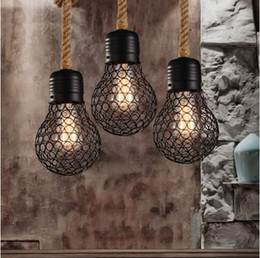 industrial bulbs Promo Codes - Vintage rope pendant light edison bulb American Style metal cage lamp restaurant dining room lights industrial bar lighting