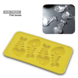 Wholesale Fit Cube - Bulk Lots 20*11*2cm Fish Shaped Ice Cubes Silicone Ice Cream Tray Mold 5 Colors Pudding Maker Gadgets Fit for - 40~230Degree