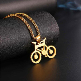 Wholesale Bike Jewelry Silver - Bicycle Necklace Black Color Stainless Steel Bike Pendants & Chain For Men Women 2018 Hot Fashion Jewelry Hippie Rock P1028