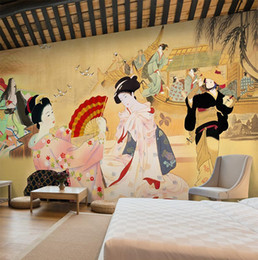 Wholesale Restaurant Packaging - Japanese Sushi Cuisine Shop Wallpaper Restaurant Hotel Theme Package Mural Background Wall 3d Japanese Ladies Wallpaper