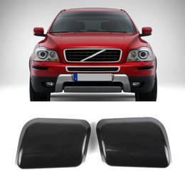 Wholesale Headlight Covers - High Quality 1 Pair Front Bumper Headlamp Headlight Washer Jet Nozzle Cover Cap for VOLVO XC90 2002-2006 black