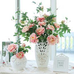 Wholesale Home Decor Silk Flower Arrangements - Artificial flowers Peony for Home decoration silk Peony Flower Arrangement Bouquet Wedding Decor 90cm long 2pcs lot