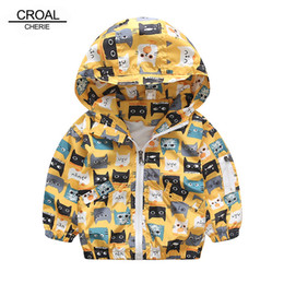 Chicos chaquetas amarillas online-CROAL CHERIE 90-120 cm Gato de impresión Active Kids Boy chaqueta rompevientos amarillo niños ropa niñas abrigos otoño abrigos