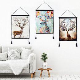 2019 óleo, pinturas, lona, orquídeas Modern Home Living Room Decor Pintura De Linho De Algodão Arte da Parede de Chifre de Veado Pendurado Tapeçarias Pinturas com borlas