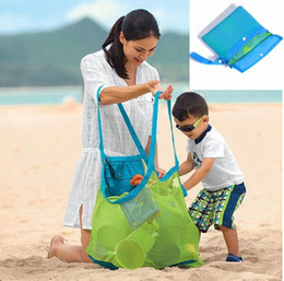 Wholesale Beach Tennis - Folding Baby Child Toy Storage Bags Beach Mesh Bag Child Bath Toy Storage Bag Cases Net Baskets for outdoor Hanging Big Volume BBA185