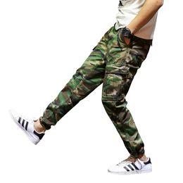 2019 armee grüne harem hose Camouflage Armee-Grün-Mann-Jeans-beiläufige Hosen-Knöchelbanded geerntete Jeans-Denim-Jogger-Hosen-Harem-große Taschen-Marken-Fracht rabatt armee grüne harem hose