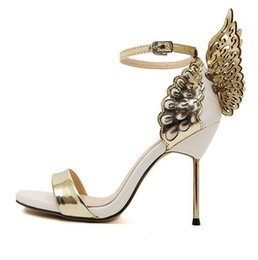 high heel steel toe shoes Promo Codes - European station tide women's shoes open toe three-dimensional butterfly angel wings word buckle steel with high heel stiletto new sandals