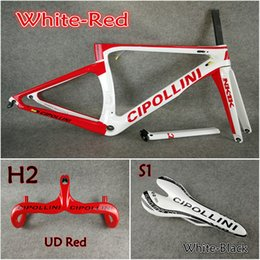 Wholesale Cipollini Bikes - Model of White-Red 3K 1K T1000 Cipollini NK1K carbon road frames+Handlebar+Saddle with BB68 BB30 Matte Glossy for selection free shipping