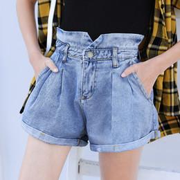 mädchen tragen lässige jeans Rabatt Sommer lose breite Bein Denim Shorts Jeans Frauen hohe Taille Sexy Girls Freizeitkleidung Mode zerrissenen Jeans
