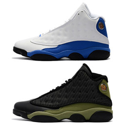 Calzado real online-Hyper Royal 13s zapatos casuales para hombre zapatillas de deporte de oliva blanco azul negro verde del ejército 13 calzado calzado casual tamaño 5.5-13