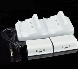xbox ein wiederaufladbar Rabatt 2019 Dual Controller Ladestation Xbox One (S) Wireless Ladestation Ladestation Dock + 2Pcs Wiederaufladbare + USB-Kabel