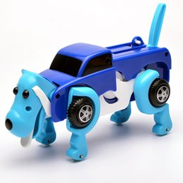 Wholesale Christmas Toy Car - Wind Up Toy Child Kids Christmas Gift Transform Plastic Dog Car Vehicle Clockwork Deformation Cartoon Automatic Hot Sale 15jn V