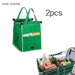 2019 bolsos de color blanco 2 unids Supermercado Agarrar Bolsas de Compras Plegable Tote Bolso Reutilizable Trolley Clip Al Carro Bolsa de la compra de gran capacidad