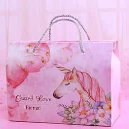 2019 bolsas rosa favor Pink Unicorn Party Favour Bag Wedding Baby Shower Kids Birthday Party Unicornio Bolsa de papel Bolsa de regalo ZA6936 bolsas rosa favor baratos