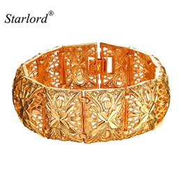 Bracelets vintage bracelets or 14k en Ligne-Vintage Large Bracelet pour les femmes Bijoux indien 20cm Largeur 2.2cm Couleur Mignon Or Bracelet Mode Métal Bangles H2400 Vintage Large