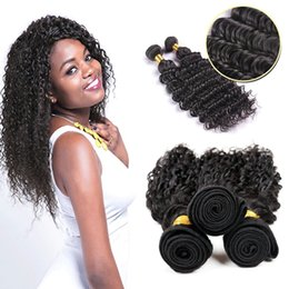 Wholesale Remy Pack Hair - Remy Virgin Malaysian Deep Wave Human Hair Extensions Pack of 3 bundles Unprocessed Deep Wave Weave Natural Color Free Shipping