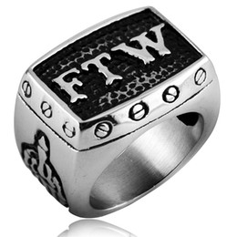 Wholesale Halloween Party Cocktails - Retro Antique Stainless Steel Moto Biker FTW Ring For the Win Middle Finger Punk Hip hop Rider Cocktail party Mens Rings