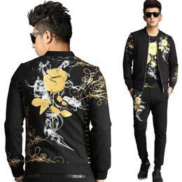 bff4992c042 Retro Gilded Rose Floral Printed 3 Piece Sweat Set Tracksuit Men Hoodies Set  Casual Slim Fit Jacket + Tshirt + Joggers Pants rose joggers outlet