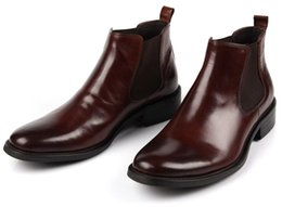 Wholesale charming black men dress shoes - Wholesale- HOT! brown black brand men business dress boots ankle boots Elastic Band men genuine leather motorcycle shoes casual short boots