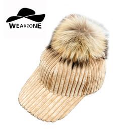 Wholesale Raccoon Hair - 2017 woman's baseball hats Winter coarse corduroy removable hair ball hat really raccoon hair ball Removable baseball caps