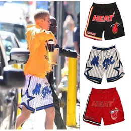 Wholesale drawstring top - The Hottest Just Don Basketball outdoor Short Pants Men Fashion Top Quality miami black red orlando white Colors All Stitched Sport shorts