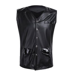 Wholesale leather tank top men - Men Pu Leather Splice Patent Leather V -Neck Sleeveless Vest With Front Snap Buttons Pockets Clubwear Costume Tank Tops