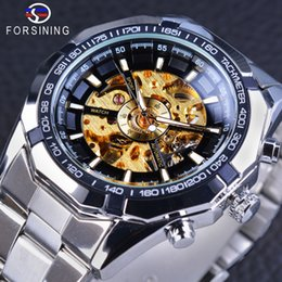 Wholesale Spy Black - Forsining New Mechanical Skeleton Classic Man Sport Watch Mens Brand Luxury Gold Watches Fashion Spy Automatic Casual Mens Dress Wrist Watch