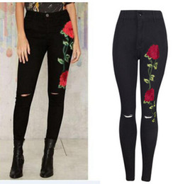 high rise jeans Promo Codes - Black Floral Jeans Women Fashion Rose Embroidery Design High Waist Slim Skinny Jean Knee Holes Design Trousers