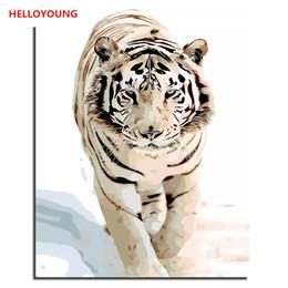 2019 amerikanische indische malereien Lion Tiger Leopard Handgemaltes Ölgemälde Digital Painting by zahlen Ölgemälde chinesische Rollbilder Home Dekoration