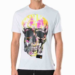 Wholesale Men Leather T Shirt - Mens Cotton jersey t shirts German Brand fluo Crystals skull Short Sleeve leather patch Logo T-Shirts hexagonal metal logo SS NEED YOU Tee