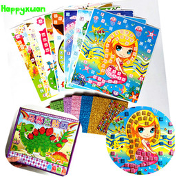 Wholesale handicrafts children - Happyxuan 8 Pictures Kid Diy Glitter Eva Diamond Mosaic Art Sticker Puzzle Children Handicraft Set Kit Preschool Education Toy