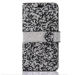 Canada Pour iPhone 8 Galaxy ON5 Etui portefeuille Diamond Case iPhone 6 LG K7 Stylo Bling Bling Crystal PU fente pour carte en cuir Opp sac par niubility cheap iphone bling leather Offre