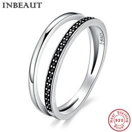 INBEAUT старинные ювелирные изделия женщины стерлингового серебра 925 BlackWhite кубический Циркон кольцо античный Королевская Принцесса обручальные кольца годовщины от
