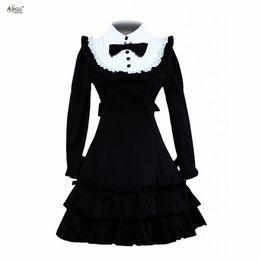 Lolita clássico dress womens algodão preto mangas compridas plissado clássico princesa vestidos lolita dress trajes cosplay xs-xxl de