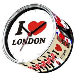 Wholesale I Love Wall - Free Shipping I Love London Souvenirs 2pcs lot Kitchen Fridge Magnets Clocks Tin Wall Clocks,Aluminum Can Gifts London Clocks
