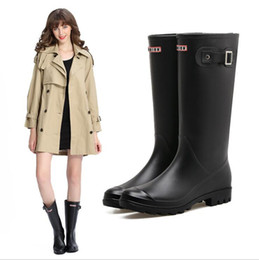 Wholesale Pvc Rain Boots - 2018 New Women Rain Boots Top Quality Rainboots Wellies Women High Boots Waterproof Brand Rubber Outdoor Water Shoes Free Shipping