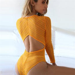 Wholesale Sexy Red Lace Bodysuit - Long Sleeve V Neck Backless See Through Sexy Lace Bodysuit Club Casual Brief Rompers Jumpsuit Vintage Party Women Overalls