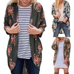 Wholesale Vintage Cardigan Xl - Women Vintage Rose Floral Loose Shawl Kimono Cardigan Boho Tops Jacket Blouse Floral Printing Long Shirts 10pcs OOA3870